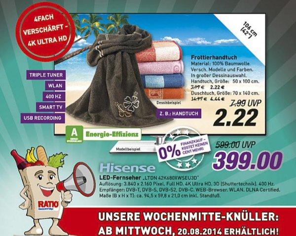 Lokal Ratio Ratingen: UltraHD TV von Hisense 42 Zoll für 399 Euro