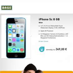 Apple iPhone 5C blau 8GB für 349€ @BASE