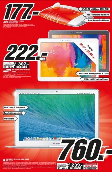 """Samsung Galaxy Tab Pro 10.1 WiFi für 222€,Apple MacBook Air 13"""" (MD760D/B) für 760€,AVM FRITZ!Box 7490 für 177€ LOKAL @ Mediamarkt Weiterstadt"""