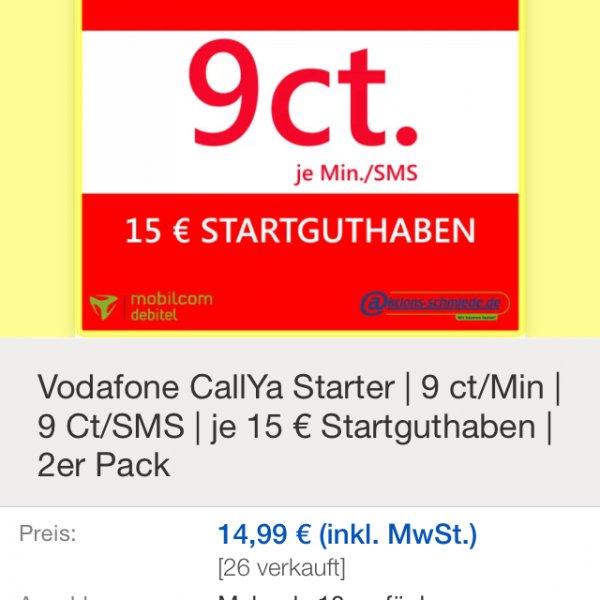 Vodafone CallYa Talk & SMS 2er Pack 15€ SGH