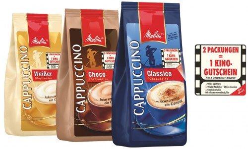 Penny ab Montag (teilweise schon heute): Melitta Cappuccino mit Aktions-Sticker (2 Packungen = 1 Kinogutschein) für je 1,99 Euro -> 10 Packungen = 5 Kinogutscheine + 4kg Pulver für 20,50 Euro!