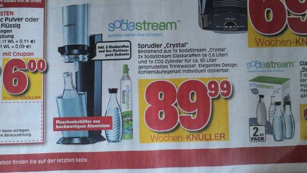 [lokal] SodaStream Crystal inkl. 2 Glaskaraffen, co2 Zylinder und portionspack Sodamix im ratio Baunatal UND Glaskaraffen Duopack für 16,99€