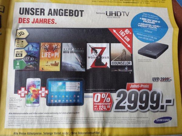 Samsung UE65HU7590 + Samsung Galaxy S5 +Samsung Galaxy Tab 3 +Samsung UHD Video Pack +200 €Cashback