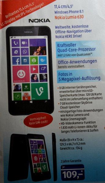 Nokia Lumia 630 109€ ALDI SÜD ab 28.08.