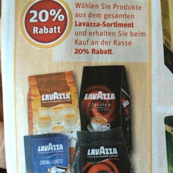 20% Rabatt auf das gesamte Lavazza Sortiment im Rewe Center