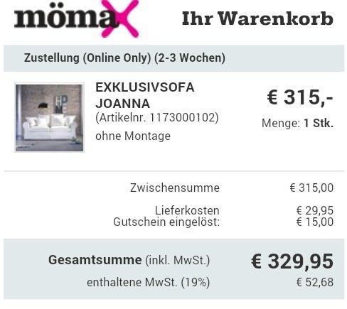 [mömax.de] Exklusivsofa Joanna in Weiß oder Grau für 329,95€ inkl. Versand (bisheriger Preis: 1390€)