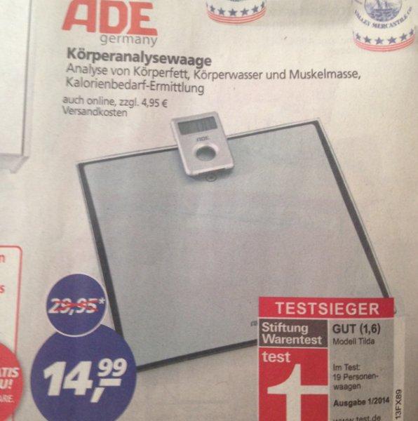 ADE Personenwaage Tilda Testsieger Stiftung Warentest
