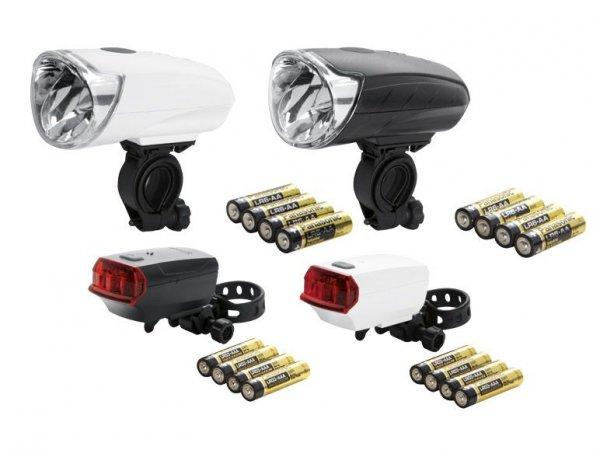 CRIVIT® SPORTS LED-Fahrradleuchtenset 15/40 Lux in Schwarz/Weiß