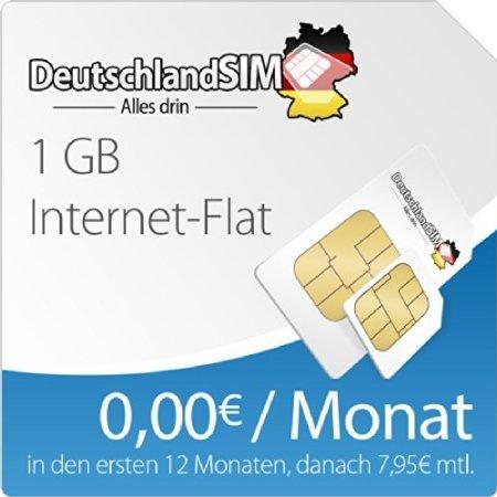 [amazon] DeutschlandSIM Surfpaket 1 GB [SIM, Micro-SIM und Nano-SIM] - 12 Monate Vertragslaufzeit (1 GB Daten Flat, 0,00 Euro/Monat in den ersten 12 Monaten, danach 7,95 / Monat) o2-Netz