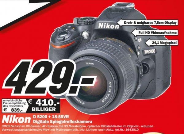 [lokal Mediamarkt Rüsselsheim] Nikon 5200 & 18-55 zusammen für 429€