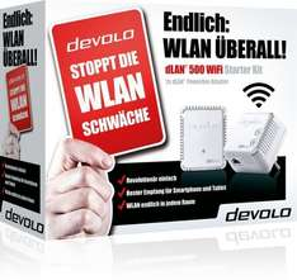 Devolo dLAN 500 WIFI Starter Kit nur 79,00 + 22,25 € Cashback bei mpass Zahlung