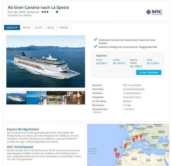 10 Tage MSC Kreuzfahrt ab Gran Canaria bis La Spezia (Italien) für 1019 € + Extras und Bordguthaben