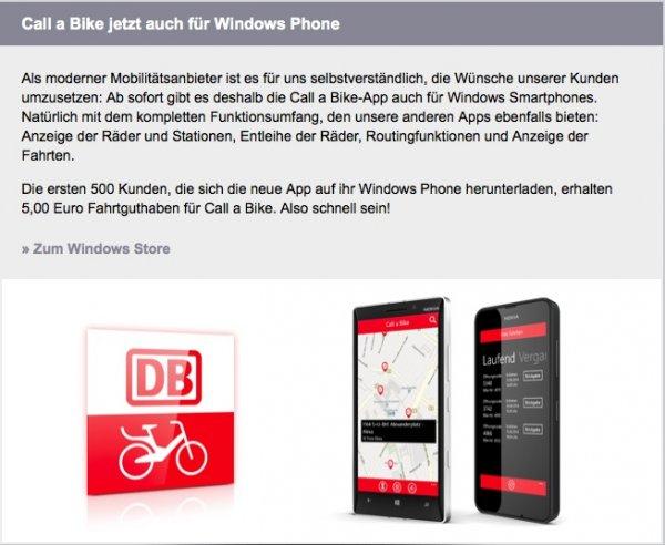 Call a Bike App für Windows Phone installieren - 5 € Guthaben sichern