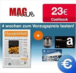 [Qipu/Magclub]: 4 Wochen Handelblatt für 34,90€ + 15€ Amazon + 23€ Cashback. Effektiv -3,10€