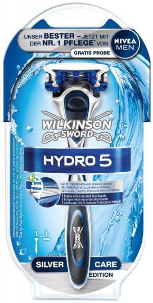 [Prime] 2 x Wilkinson Sword Hydro 5 Rasierapparat mit 1 Klinge und Nivea Men Gratisprobe für 6,95€ @ Amazon Student (zusätzlich 5 EUR Sofortrabatt auf die passende Hydro 5 Klingenpackung mit 8 Stück)