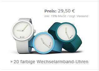 Stylische Oclock Uhr mit Wechselband kaufen, zusätzliches Armband gratis