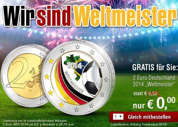 Weltmeister-2-Euro-Münze für 0,00€ (3,95€ Versand) bei reppa.de