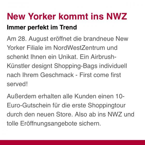 New Yorker eröffnung 28.8.14 Nwz/ FFM
