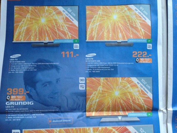 Samsung UE 22 H 5000 für 111 EUR und UE32H5070 für 222 EUR Saturn Dortmund City Geburtstagsangebote