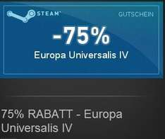 Civilization V 50% / Europa Universalis IV 75% / Tropico 5 25% Steam discount key