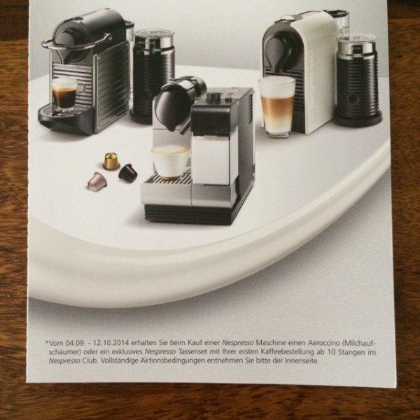 Beliebige Nespresso Maschine + gratis Aeroccino !