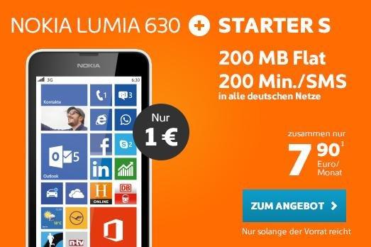 Nokia Lumia 630 + Simyo 24 Monatsvertrag, 200Min/SMS, 200MB mit LTE