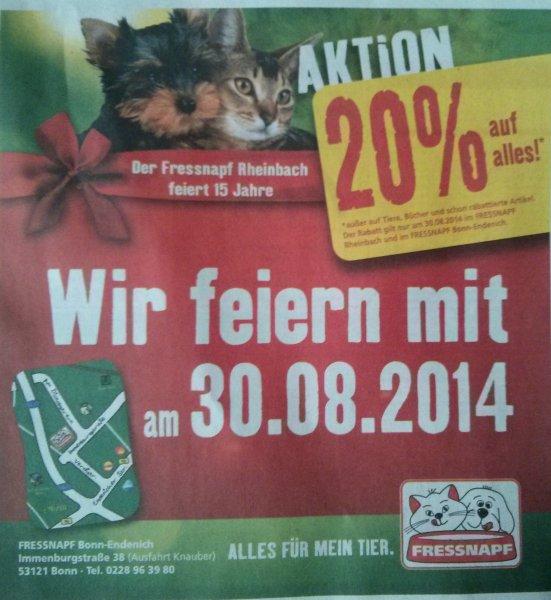 [Fressnapf] Bonn Endenich und Rheinbach 20% Rabatt am 30.8.