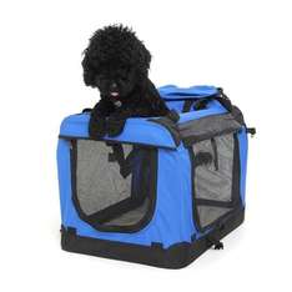 faltbare Hundetransportbox Transportbox Hundebox Reisebox Größe(60cm x 42cm x 42cm) Blau