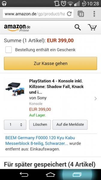 PS4 + Knack, Killzone und Infamous für 399€ (plus VSK) Amazon Wochenendangebot