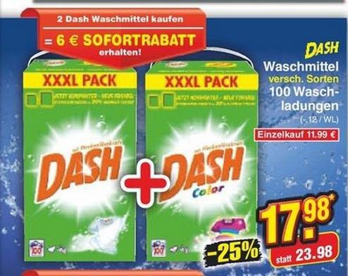 DASH XXXL Pack 200WL für 17,98 € bei Netto - 01.09.2014