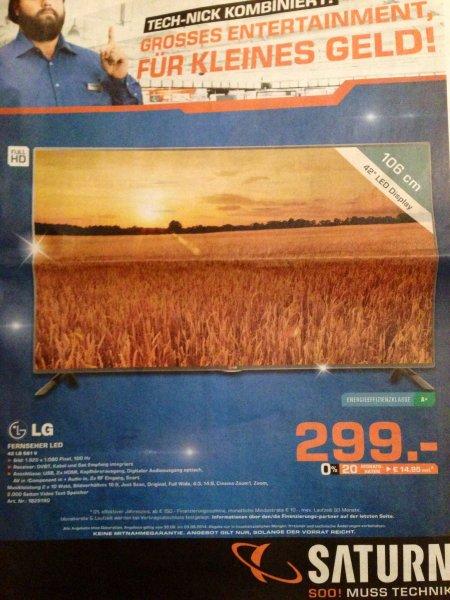 [lokal] Saturn Bergisch Gladbach LG 42LB561V {FullHD | triple Tuner}für 299€ - 20% unter idealo