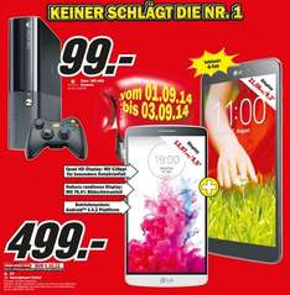 Xbox 360 4GB für 99€, LG G3 + LG G Pad 8.3 für 499€ Lokal @ Mediamarkt Krefeld