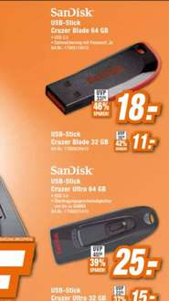 Sandisk Cruzer Ultra 64GB bei HEM expert