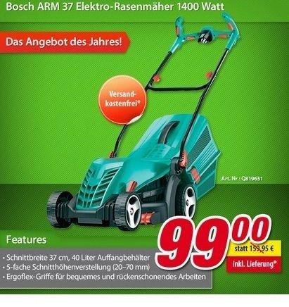 [Voelkner] Bosch ARM 37 Elektro-Rasenmäher (3% Qipu möglich)