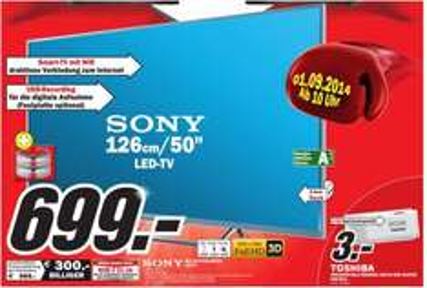 [ Lokal ] [ MediaMarkt Porta ] Sony 50 W 805 / 815 600Hz 3D TV DVB T S2 C 805 mit schnelleren Chip 699,- € Energieeffizienz A++
