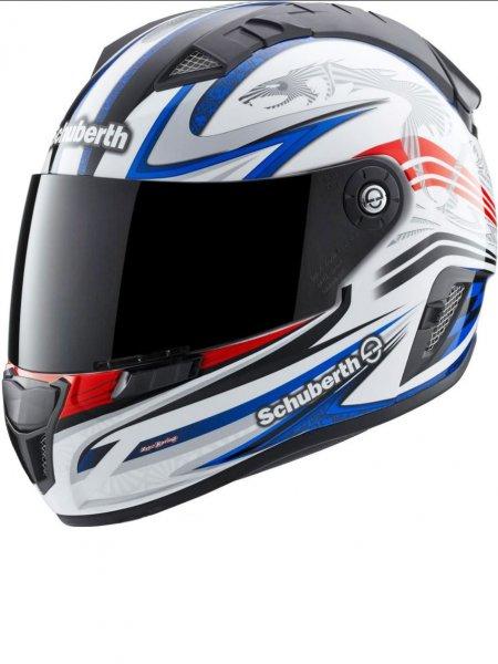 Schuberth SR1 Racing Line Integralhelm jetzt im Weis Rot Blau Dekor [Louis]