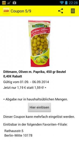 [Netto App] 450g Dittmann Oliven mit Paprika für 1,19€