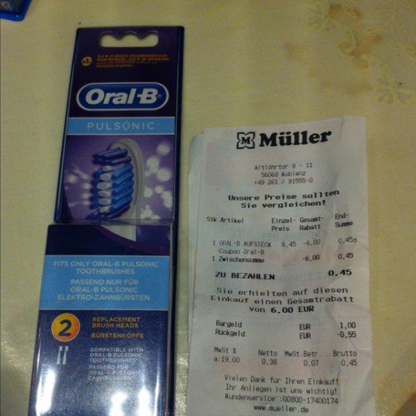 Oralb Pulsonic 2 Stück Aufsteckbürsten 0,45€