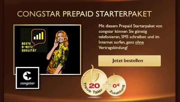 Jacobs Kronen Prämie Congstar -Karte mit 10€ SGH