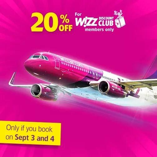 20% Rabatt auf Wizzair Flüge für Wizzclub Mitglieder (nur 3.9-4.9)