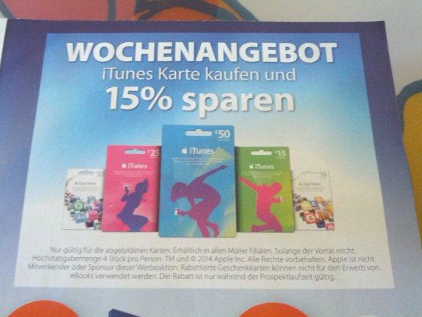 iTunes Karten bei Müller 15% günstiger