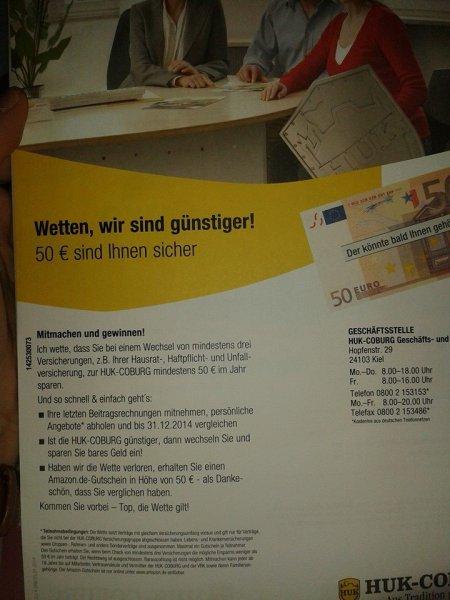 50 Euro Amazon Gutschein geschenkt bei der HUK nur für Hardcore My Dealerzzzz