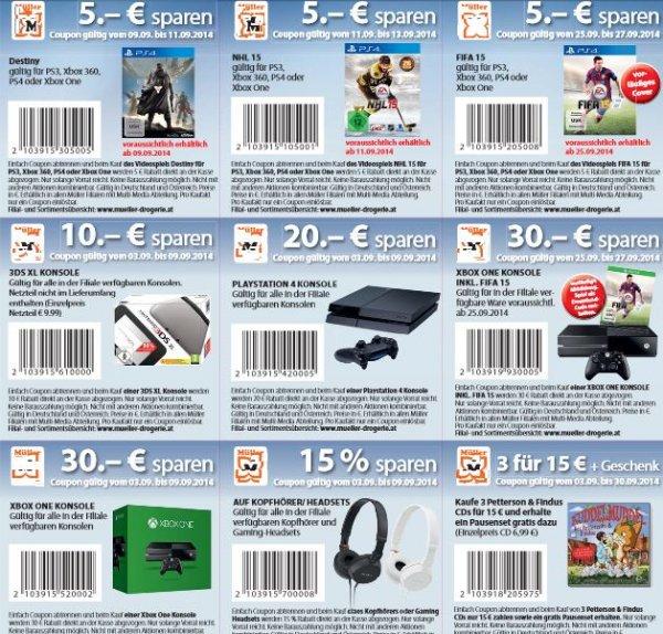Gutscheine bei Müller z.B. Playstation 4, XBOX One Fifa 15 Bundle, NHL 15, Destiny, Nintendo 3DS XL uvm!