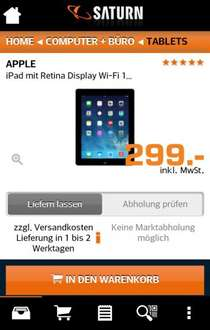 Apple ipad 4 mit Retina Display für 299€ @ Saturn