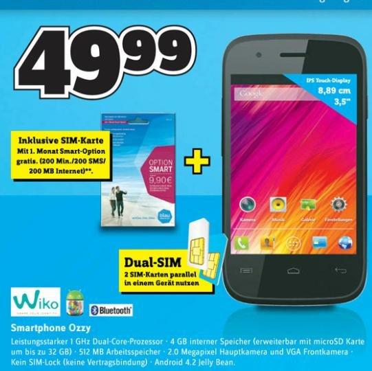 Conrad: online/offline - Wiko Ozzy Smartphone 49,99€ (idealo ab 65)