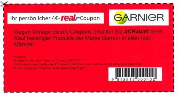 4 Euro Coupon ohne Mindestkaufwert - nur real,- - für alle Garnier-Produkte