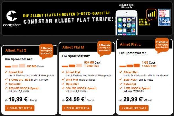 Congstar Allnet Flats (D1) ohne Vertragslaufzeit 2 Monate kostenlos - all-net-flat.de
