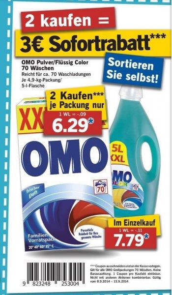[Lidl] 2x OMO XXL 70WL für je 6,29€ (0,09€ pro WL)