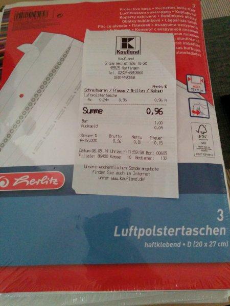 lokal. Kaufland Hattingen: Herlitz Luftpolstertaschen 20 x 27 3er Pack.