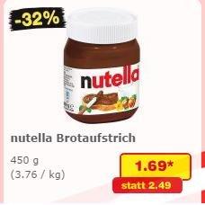 450g Nutella für 1,69€ bei Netto